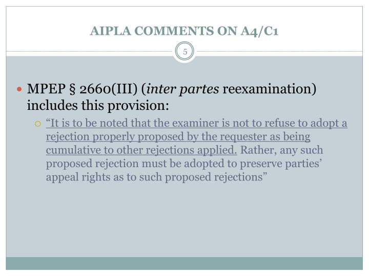 AIPLA COMMENTS ON A4/C1