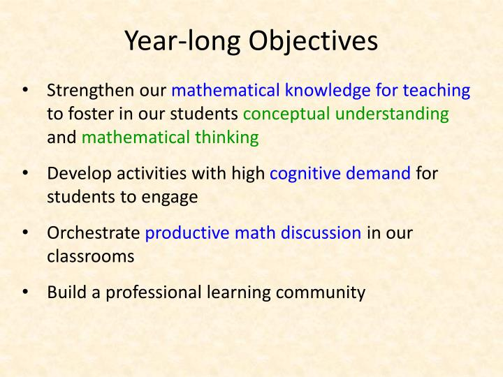 Year long objectives
