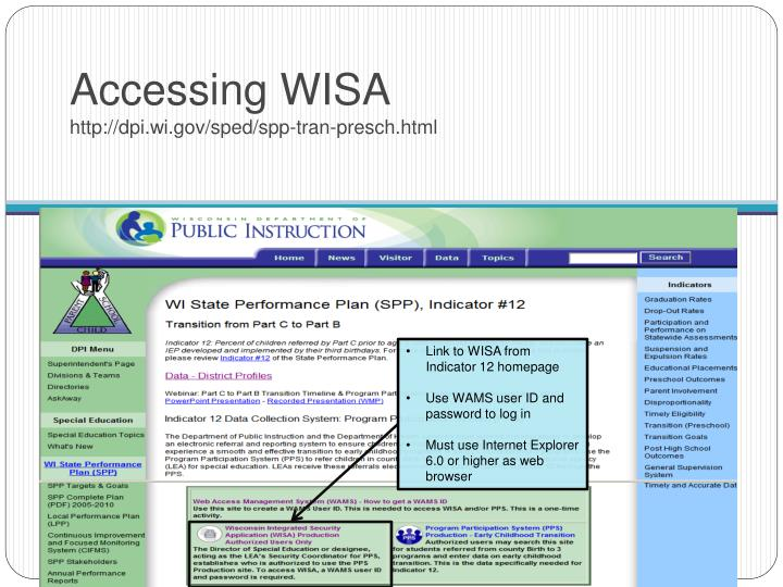 Accessing WISA