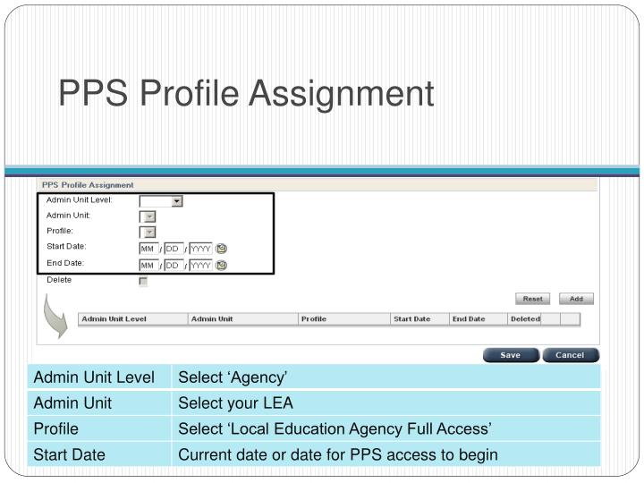 PPS Profile Assignment
