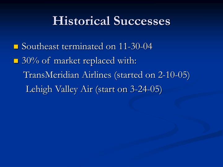 Historical Successes