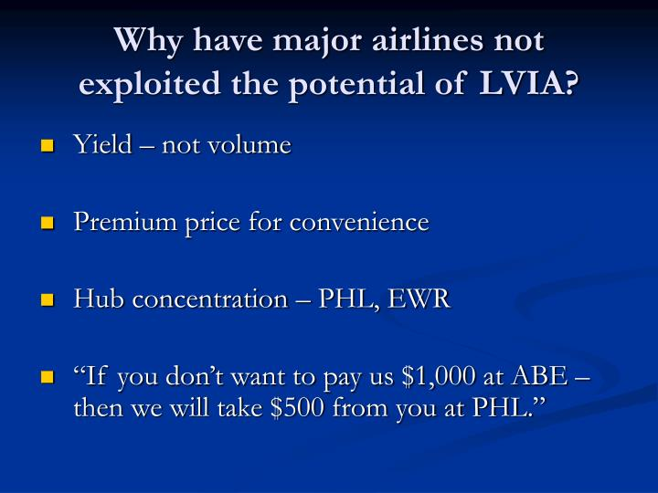 Why have major airlines not exploited the potential of LVIA?