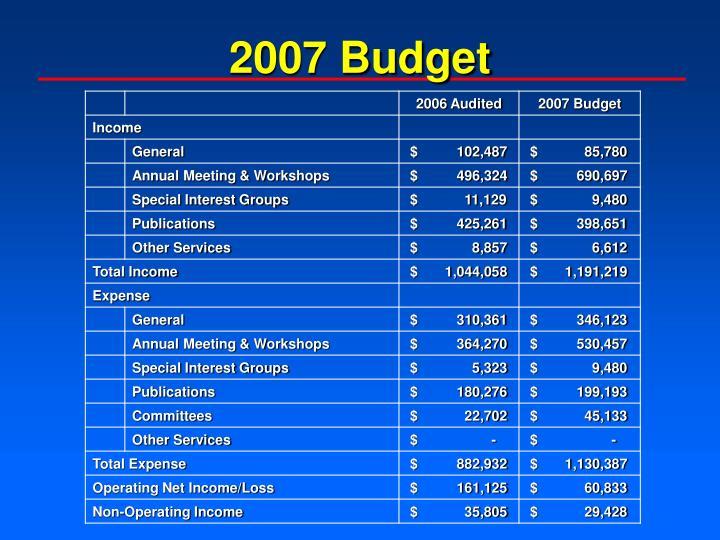 2007 Budget