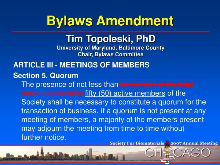 Bylaws Amendment