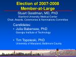 election of 2007 2008 member at large