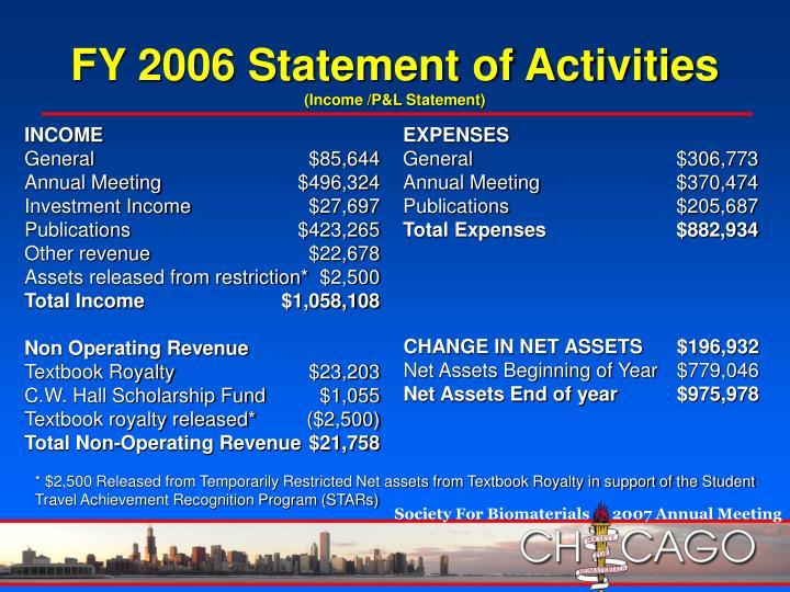 FY 2006 Statement of Activities