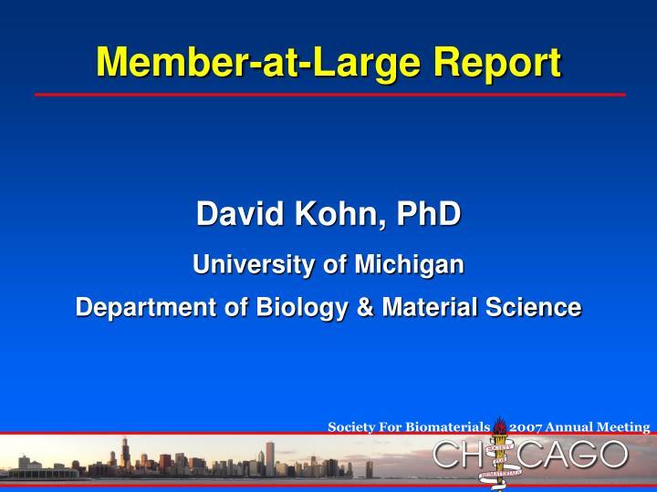 Member-at-Large Report