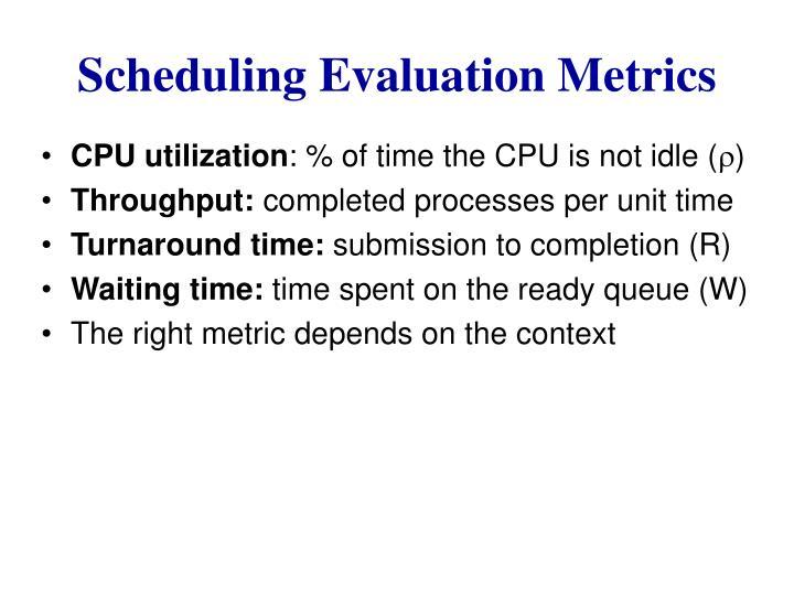 Scheduling Evaluation Metrics