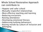 whole school restorative approach can contribute to