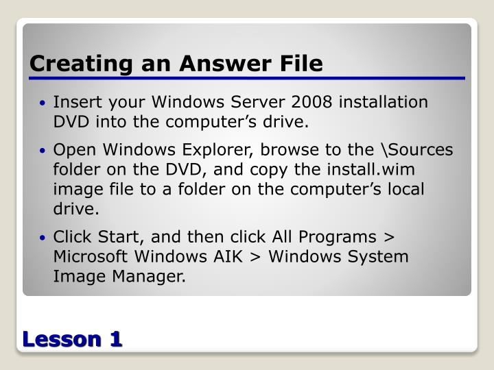 Creating an Answer File