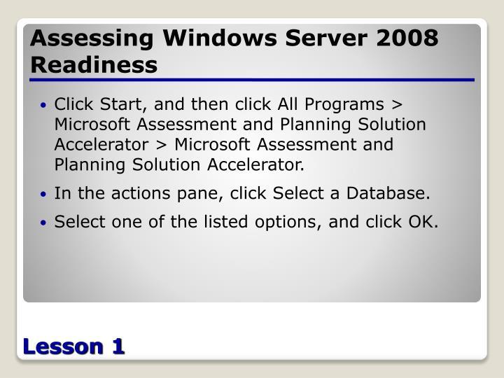 Assessing Windows Server 2008 Readiness
