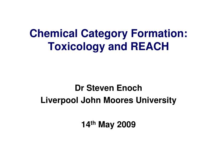 chemical category formation toxicology and reach n.