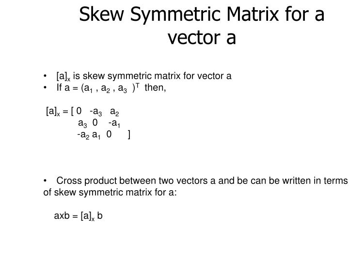 Skew Symmetric Matrix for a vector a