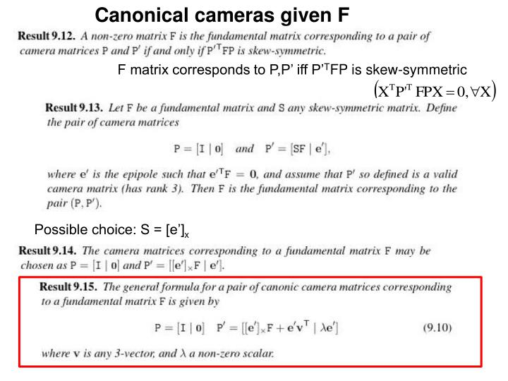 Canonical cameras given F