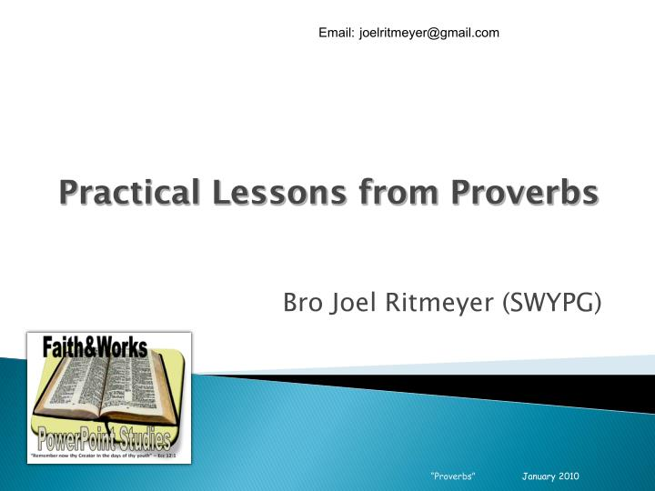 Practical lessons from proverbs
