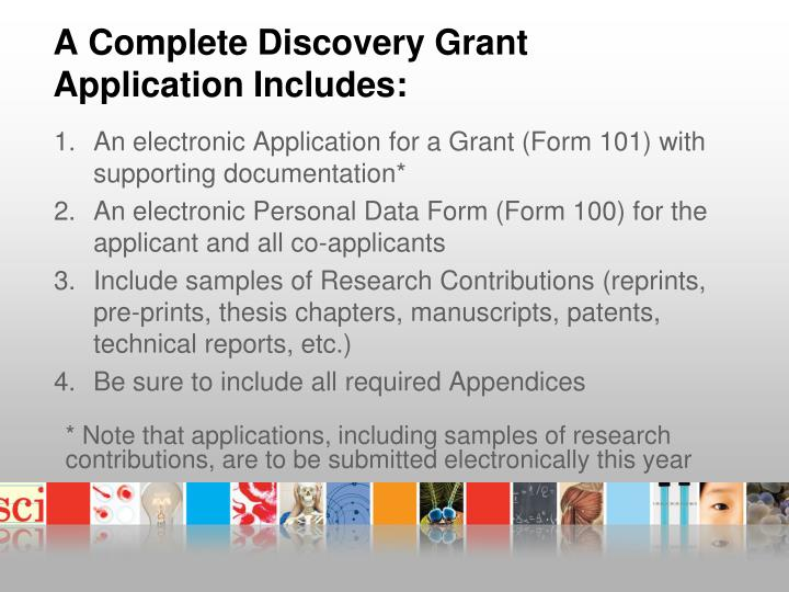 A Complete Discovery Grant Application