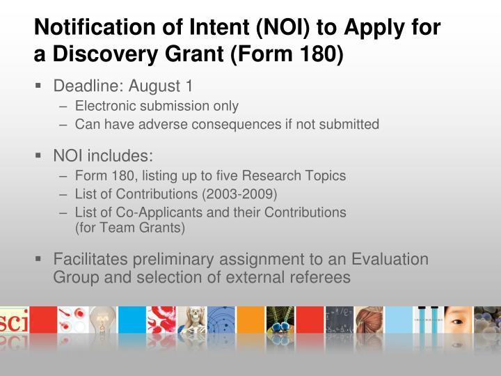 Notification of Intent (NOI) to Apply for