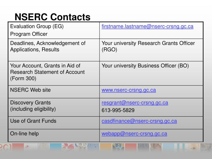NSERC Contacts