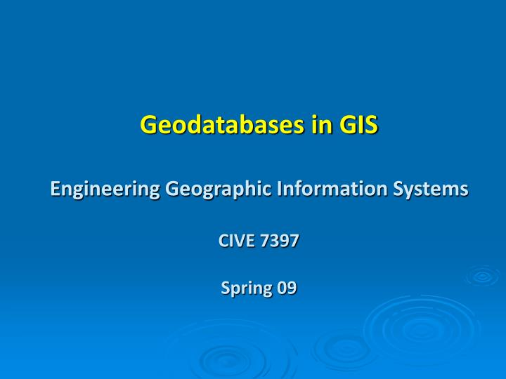 Geodatabases in GIS