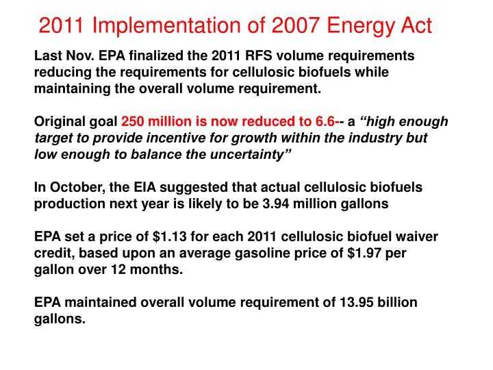 2011 Implementation of 2007 Energy Act