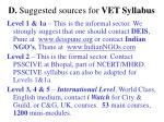 d suggested sources for vet syllabus
