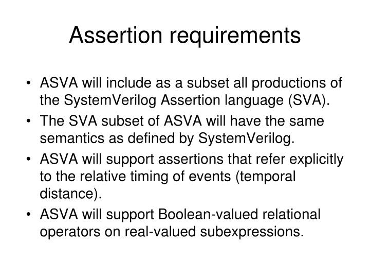 Assertion requirements