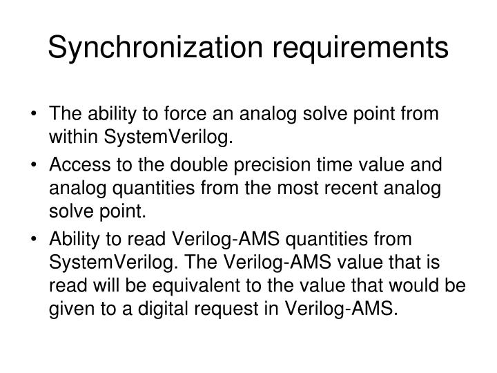 Synchronization requirements