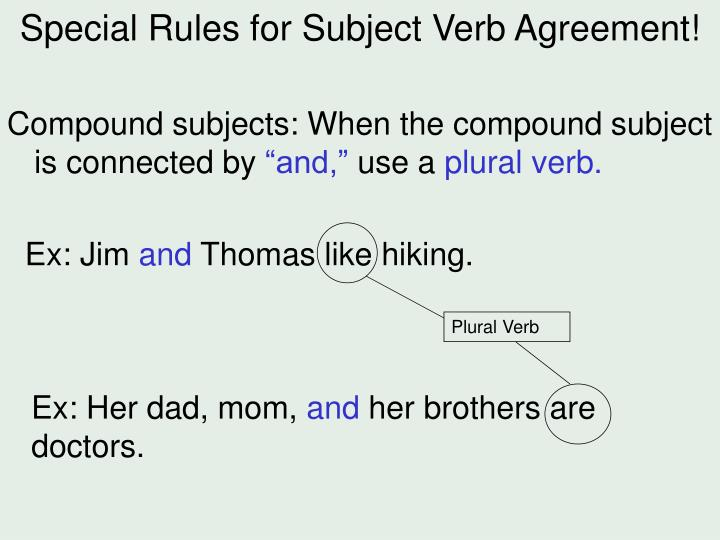 Special Rules for Subject Verb Agreement!