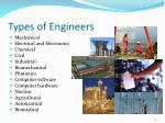 types of engineers