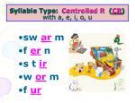 syllable type controlled r cr with a e i o u