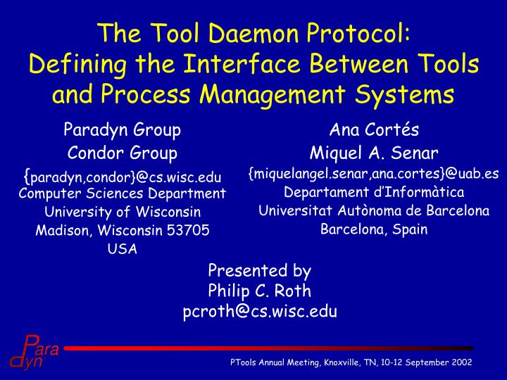 the tool daemon protocol defining the interface between tools and process management systems