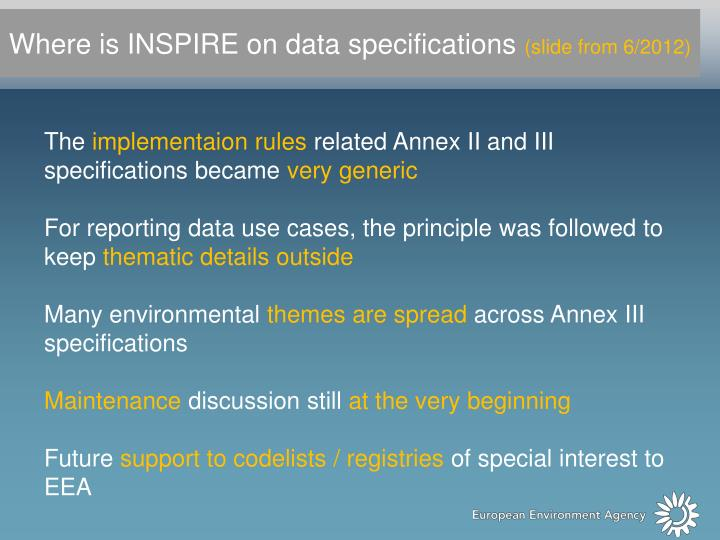 Where is INSPIRE on data specifications
