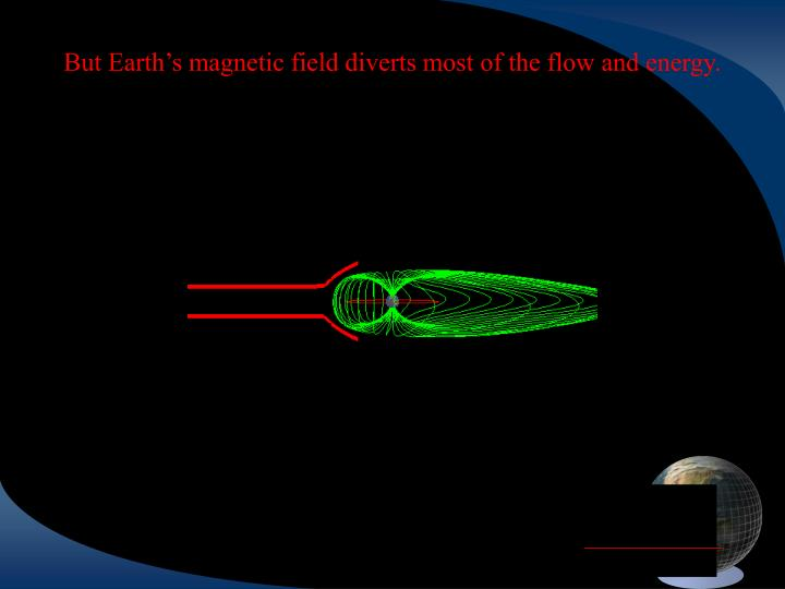 But Earth's magnetic field diverts most of the flow and energy.