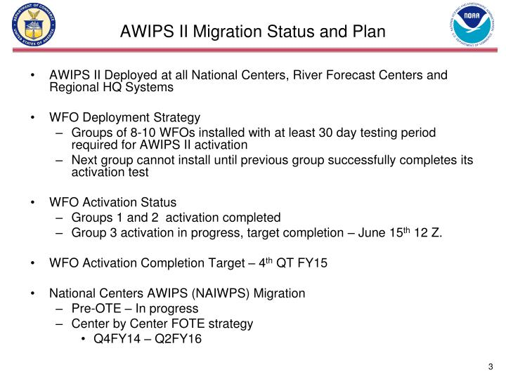 Awips ii migration status and plan