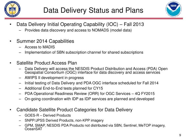 Data Delivery Status and Plans