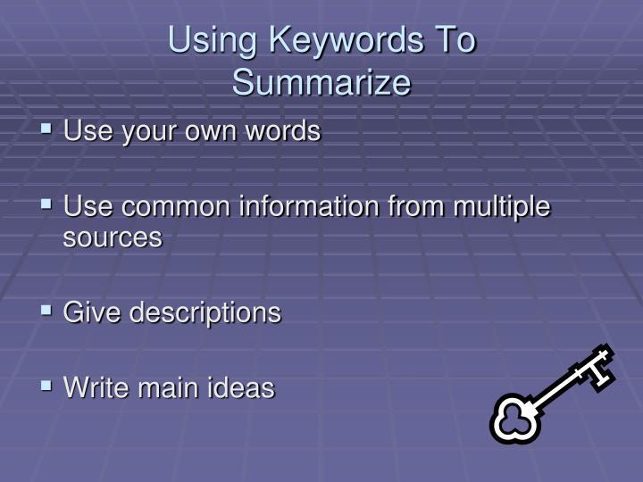 Using Keywords To