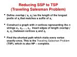 reducing ssp to tsp traveling salesman problem