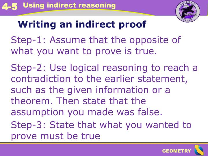 Writing an indirect proof