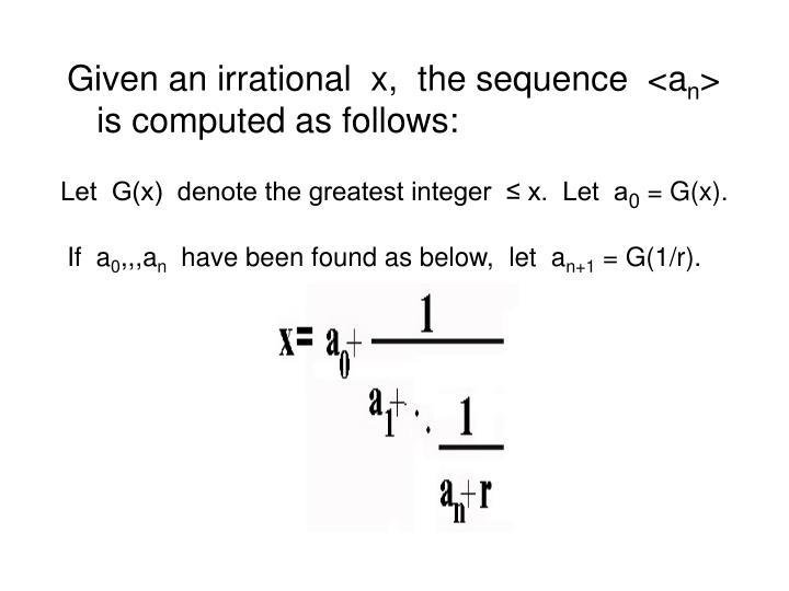 Let  G(x)  denote the greatest integer  ≤ x.  Let  a