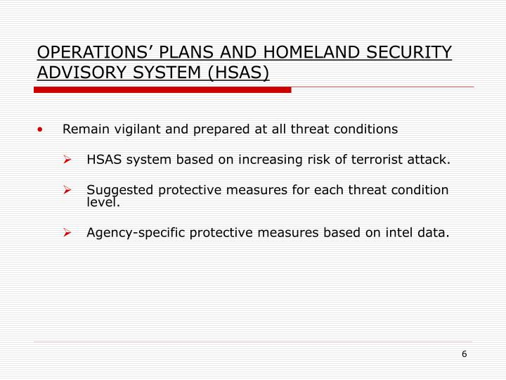 OPERATIONS' PLANS AND HOMELAND SECURITY ADVISORY SYSTEM (HSAS)