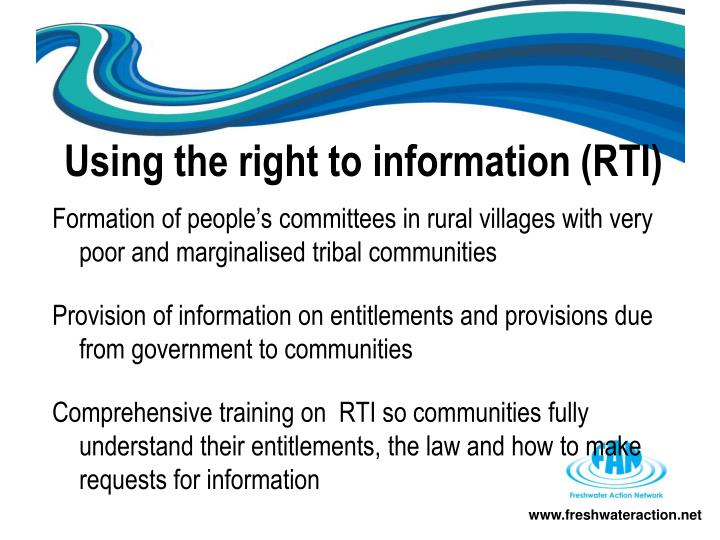 Using the right to information (RTI)