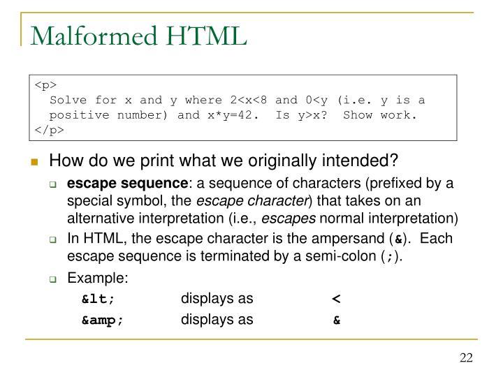 Malformed HTML