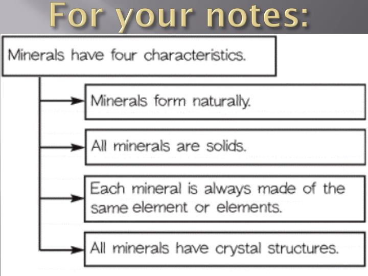 For your notes: