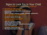 signs to look for in your child
