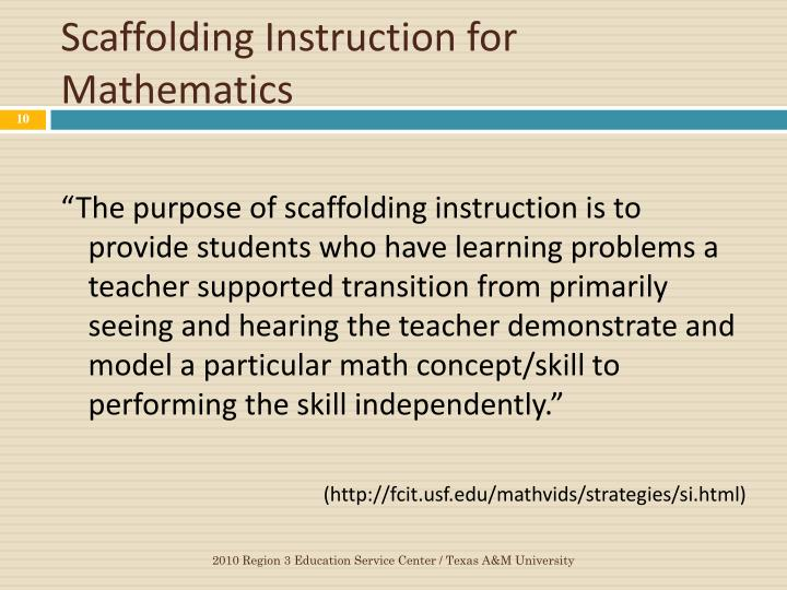 Scaffolding Instruction for Mathematics