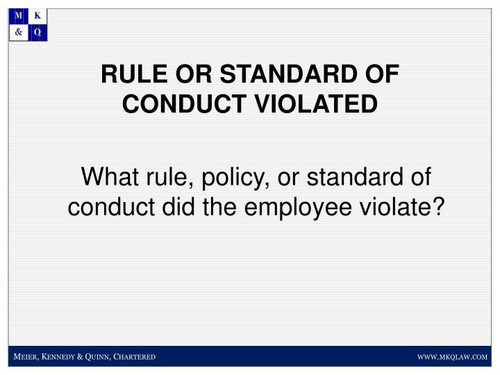 RULE OR STANDARD OF