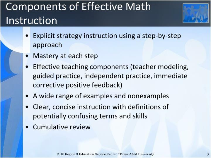 Components of effective math instruction