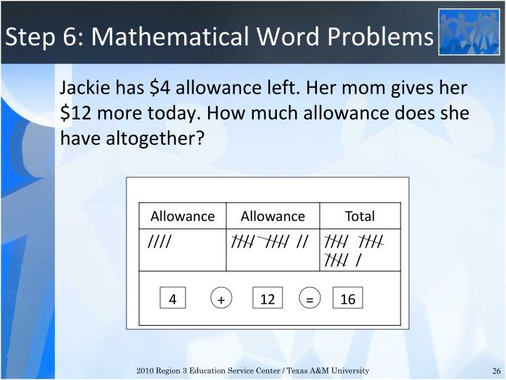 Step 6: Mathematical Word Problems