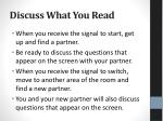 discuss what you read