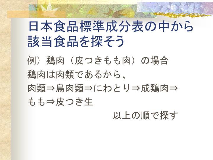 日本食品標準成分表の中から該当食品を探そう